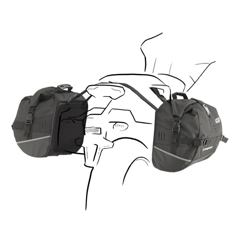 Motorbepakking tassen zijkant motor