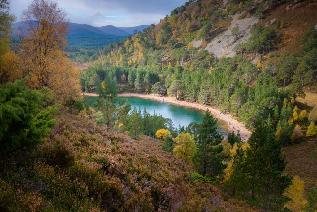 Uitzicht over een meer in the Green Forest, Schotland